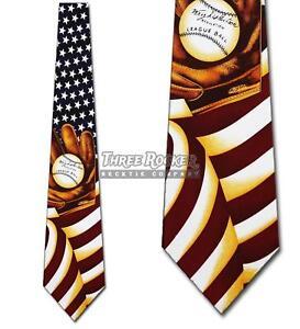 Flag Ties Baseball Necktie Patriotic Americana Mens Neck Tie NWT