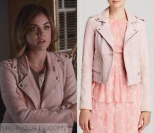 MAJE ladies Basalt Suede Biker Jacket  Sz 40- Pale Pink -
