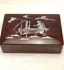 Vtg Asian Wood Jewelry Trinket Keepsake Box Mother of Pearl Shell Abalone Art