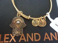 Alex and Ani HAND OF FATIMA III Russian Gold Charm Bangle New W/Tag Card & Box