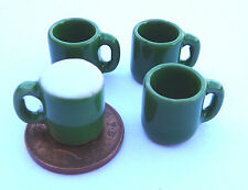 1:12 Scale 4 Green Ceramic Mugs Tumdee Dolls House Kitchen Drink Accessory G40