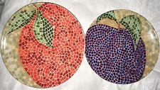 "2 Plates Pier One Orange Mosaic Apple Mosaic 8"" Bright Dinner Ware"
