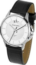 Jacques Lemans Sydney 1-1540B Men's Black Leather Strap Stainless Steel Watch
