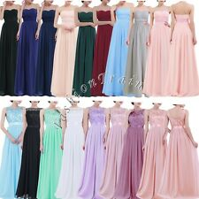 Women Strapless Long Dress Cocktail Wedding Bridesmaid Evening Party Formal Gown