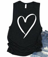 Party On! Women's Scoop Neck Sleeveless Printed Heart Muscle Tank (Black, 2XL)