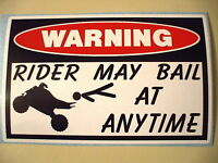 FUNNY QUAD WARNING ATV BIKE ATC FOUR WHEELER MUD BOGGING STICKER DECAL RMB 612