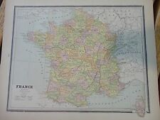 Nice colored map of France. Cram's Atlas of the World.