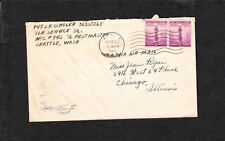 WWII APO 942 Alaska Early Violet Military 43 Censor Air Joined Pair Defense q3