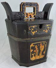CHINESE ASIAN WOOD/METAL RICE BUCKET/BOX,GOLD PAINTED MANDARIN FIGURINE,FAMILLE