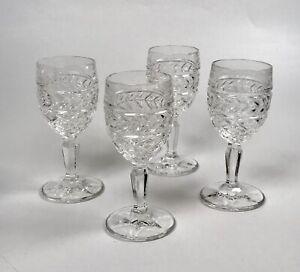 Vintage Crystal Cut Glass Wine Sherry Glasses Set Of 4