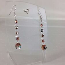 Womens Copper Czech Crystal Fire Polished Beads Silver Plated Pierced Earrings