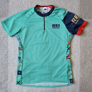 REI Voler USA Womens Cycling Jersey Teal Aztec Tribal Green Performance Sz Small