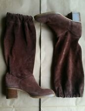 70s Vintage brown suede knee hi scrunch tall boots 6.5-7