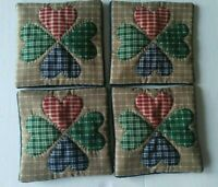 Handcrafted  Beverage Drink Coaster Set Heart Red Green Set of 4 Hand quilted
