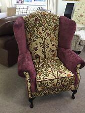 Chesterfield Wing Back Arm Chair Morris + Co Kelmscott Tree Velvet British Made