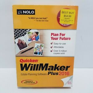 Quicken Will Maker Plus 2016 NOLO Estate Planning Software New Sealed