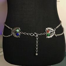 Arts Crafts Nouveau Chatelaine Chain Belt Glass Cabs Jugendstil Vtg Antique S