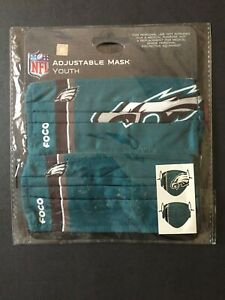 Philadelphia Eagles YOUTH SIZE Officially Licensed 2 Pack Face Mask Covering