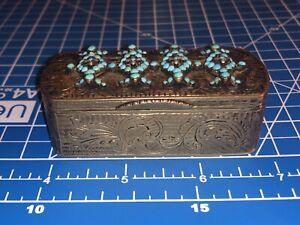 1846 Russian Gilt 84 Silver Turquoise & Seed Pearl Snuff Box by Dmitri Nikolaev