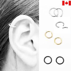 Pair Stainless Steel Ring Hoop Ear Nose Lip Cartilage Tragus Helix Piercing punk