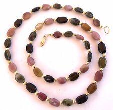 42 Genuine Tourmaline Gemstone Necklace Rainbow 14K Yellow Gold Filled 20 Inches
