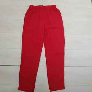 Ladies Casual / Workwear Trousers Size 14 W28 L29 Red Pockets Elastic Waist