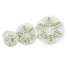 Mold Sugarcraft Fondant Cake DIY Snowflake Plunger Cutter Decorating 3Pcs #E4 UK