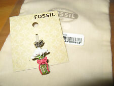 BNWT Fossil Charm Bouquet of Flowers & cloth bag for bracelet or necklace NEW