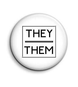 They Them Pronoun 25mm / 1 Inch D Pin Button Badge