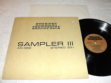 """American Gramaphone - Sampler III"" 1984 Rock LP, Nice NM-!, Various Artists"
