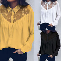 Plus Size Women Sheer Lace Floral Top Ladies Long Sleeve Blouse Button Up Shirts