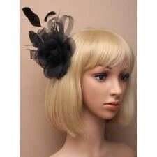 ALL BLACK ROSE AND MESH FEATHER FASCINATOR CLIP, SPECIAL OCCASIONS