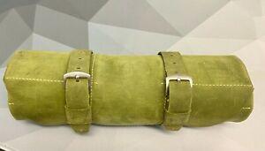 Enzo Mechana Italian Green Suede Leather 5 Pocket Watch Roll Travel Storage Roll