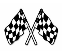 """5"""" DUAL CHECKERED RACE FLAGS SHAPED STICKER DECAL"""