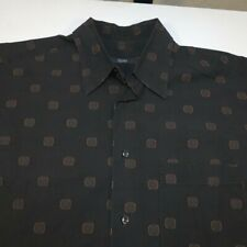 ZANELLA MADE IN ITALY BUTTON DOWN SHIRT Sz Mens L Brown Polka Dot