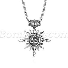 Men's Vintage Stainless Steel Eygptian Sun Celtic Knot Pendant Necklace Chain
