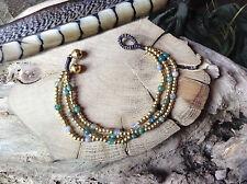Tribal Brass & Jasper Beads Bracelet  Size Small Gypsy Ethnic Boho Thai Macrame