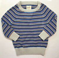 Peek Little Peanut Baby Boys 6-12 Months Blue Striped Pullover Sweater Gray Trim