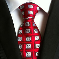 Classic Mens Silk Tie Necktie White Red Geometric Woven JACQUARD Neck Ties Plaid