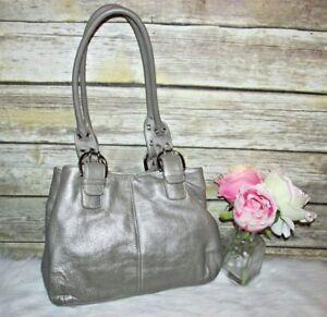 Tignanello Metallic Light Brown Pebbled Leather Buckle Purse Tote HandBag