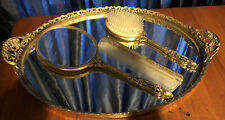 Vintage Large oval mirror vanity tray-matching brush handmirror & comb Gold Tone