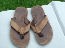Quiksilver tan suede leather flip flop toe post mules size uk 9- 10