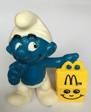 McDonalds Happy Meal Toy - The Smurfs Smurf 1997 Carrying Yellow Happy Meal Box