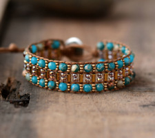 Natural Beaded Wrap Cuff Bracelet, Leather Oblong Imperial Jasper & Seed Beads