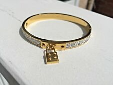 Padlock Gold-Toned Hinged Crystal Paved Bangle