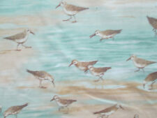 SAND PIPER BEACH SAND WATER WAVES TEAL TAN BEIGE COTTON FABRIC BTHY