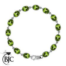 Pulseras de joyería con gemas verde de plata de ley