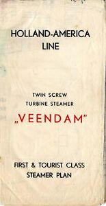 Circa 1947 Holland America Line VEENDAM Deck Plan -Ship Sank Twice During Career