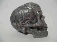 Skull Celtic tribal designs pewter tones Resin Fantasy Mythical Heavy 98 W.U.I