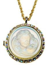 Kirks Folly LOVE NEVER DIES DREAM ANGEL LOCKET NECKLACE goldtone / crystal ab